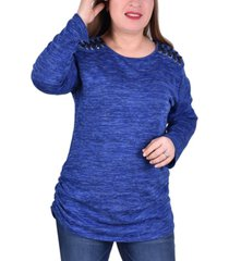 ny collection women's plus size plus size scoop neck pullover top