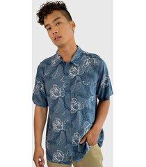 camisa oakley azul - calce regular