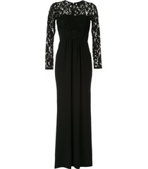 paule ka lace insert belted gown - black
