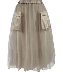 fabiana filippi ribbed waist double-pocket skirt