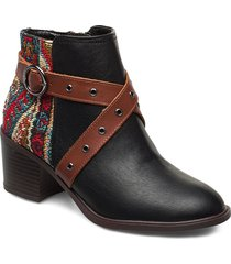 shoes alaska tapestry shoes boots ankle boots ankle boot - heel svart desigual shoes