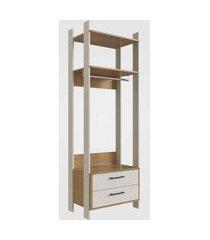 closet aberto com gavetas e cabide off white com itapuá completa móveis