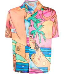 esteban cortazar lady on the beach short-sleeved shirt - orange