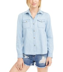 lucky brand cotton button-front top