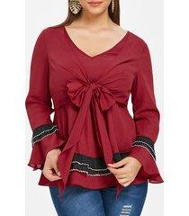 plus size flare sleeve bowknot embellished t-shirt