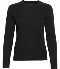 italian merino-blend crew-neck sweater stickad tröja svart banana republic