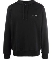 a.p.c. black cotton hoodie