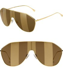 women's fendi 146mm stripe lens shield sunglasses - gold/ brown