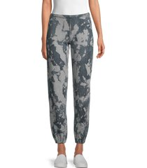 hard tail women's printed cotton-blend pants - navy grey combo - size s