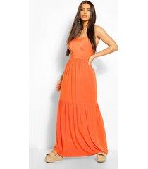 maxi jurk met laagjes en bandjes, oranje