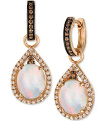 le vian chocolatier neopolitan opal (2-3/8 ct. t.w.) and diamond (5/8 ct. t.w.) drop earrings in 14k rose gold