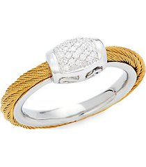 18k white & stainless steel gold diamond rope ring