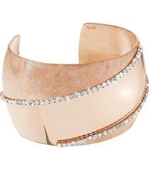 bracciale bangle big in bronzo dorato rosé e cristalli per donna