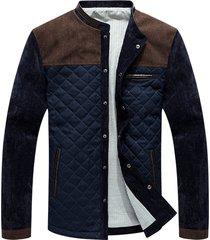 chaqueta casual universitaria hombres mj100 azul marron