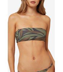 women's o'neill rania frond print bandeau bikini top, size x-large - green