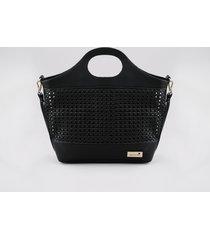 bolsa feminina água de coco shopper média tressê com alça transversal removível preta