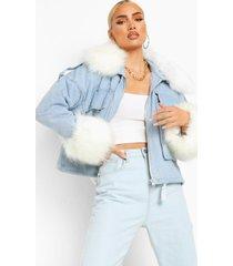 oversized spijkerjas met faux fur kraag en manchettes, blue