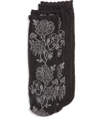 women's natori 2-pack floral sheer ankle socks, size one size - black