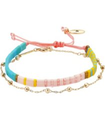 gold flash plated bead chain and multi-color pastel bracelet set