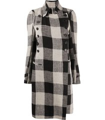 ann demeulemeester gingham check military coat - black