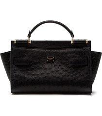 dolce & gabbana sicily soft tote bag - black