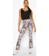 animal print flared rib legging, pink