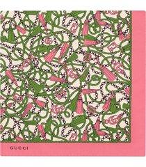 gucci gg tassel-print silk scarf - pink