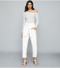 reiss jessie - ribbed-knit bodysuit in grey, womens, size xl