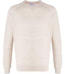 brunello cucinelli crew neck long sleeve sweatshirt - neutrals