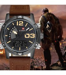 reloj cuero hombre moda naviforce militar digital análogo