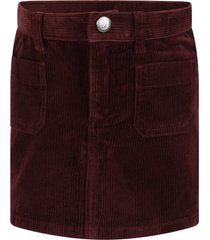 bonpoint burgundy skirt for girl with logo patch