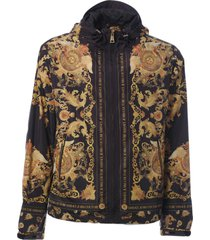 versace jeans couture printed hooded jacket