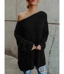 negro one hombro manga larga suéter flojo