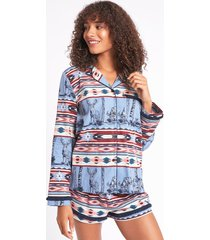 nordic stag cotton long sleeve top & shorts set