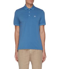 coral logo embroidered cotton piquet polo shirt