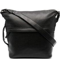 orciani multi-pocket leather shoulder bag - black