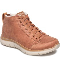 womens flex appeal 2.0 - warm wishes shoes boots ankle boots ankle boot - flat brun skechers