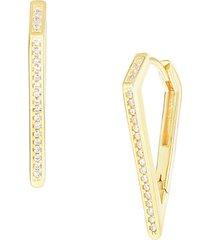 14k gold vermeil & cubic zirconia dagger hoop earrings