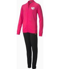 polyester trainingspak, roze/zwart, maat 128 | puma