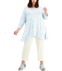 alfani plus size floral printed swing top, created for macy's
