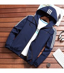 abrigos slim fit cremallera de moda para hombres,primavera otoño-azul