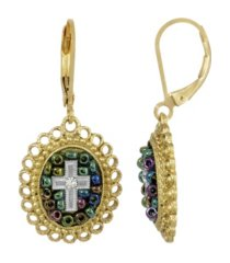 14k gold dipped carded multi color beaded crystal cross euro wire earring