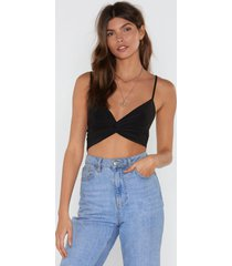 womens knot today bra top - black