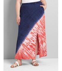 lane bryant women's tie-dye maxi skirt 22/24 navy/red