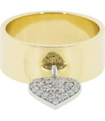 heart charm cigar band ring