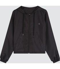 chaqueta mujer rompevientos capota color negro, talla l