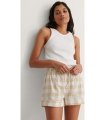 na-kd lingerie flannel pyjamas shorts - beige