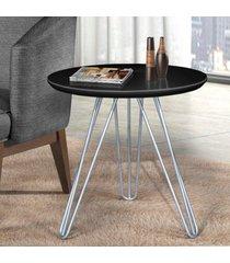 mesa de canto pé prateado c&m decor laca preto