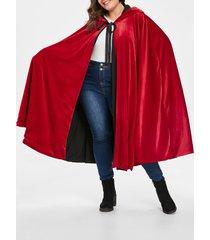 plus size hooded cape coat