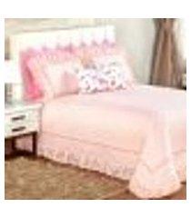 cobre leito rosa clássico queen size 5 peças flamingo 2,50m x 2,40m